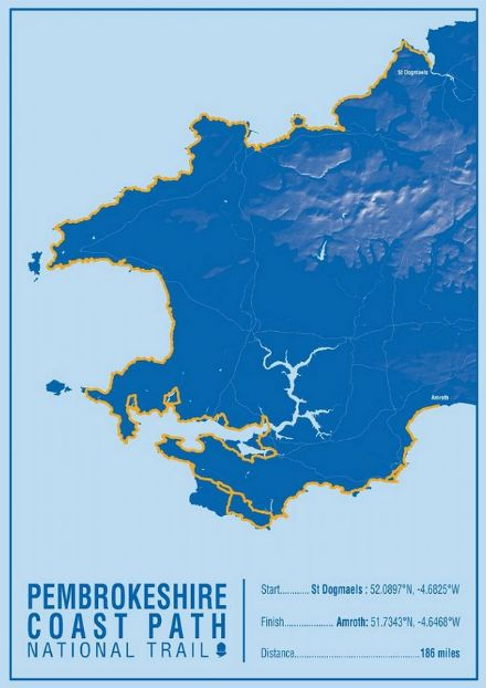 Pembrokeshire Coast Path National Trail Map Print